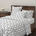 Apple Scandinavian Fruit Retro Black And White Sateen Duvet Cover by Roostery