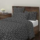 Dot Polka Dot Black And White Minimal Retro Mod Sateen Duvet Cover by Roostery