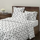 Mint Flowers Black And White Retro Scandinavian Sateen Duvet Cover by Roostery
