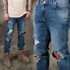 NewStylish Mens Fashion Bottom Pants Denim Distressed Ripped Knee Jeans