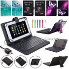 """US Fr Nextbook 7"""" 7.85"""" 8"""" 10.1"""" Tablet Micro USB Keyboard Leather Case Cover LA"""