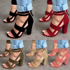 Hot Womens Ladies High Block Heel Open Peep Toe Lace Up Sandals Party Shoes