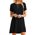 Womens Casual Crew Neck Short Sleeve Tops Swing fit Maxi Dress Plus Size OL Lady