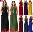 Women's Sleeveless Loose Plain Maxi Dresses Casual Summer Lo