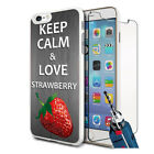 Love Strawberry Design Hard Case Cover & Glass For Various Mobiles