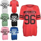 Ladies Womens Net Fishnet Lace Brooklyn Print Varsity Oversize Baggy T Shirt Top