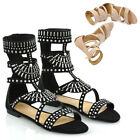 Womens Strappy Sandals Flat Ankle High Ladies Summer Holiday Shoes Size 3-8