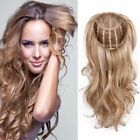 "100% Human Hair Long Wavy Machine Weft NO Lace 3/4 Half Wigs Weft Cap 16""-24'"