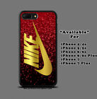 Nike Gold Logo Red Glitter Print Plastic Hard Case For iPhone 5s 6s 7 8 X (Plus)