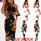 Women Halter Floral Off Cold Shoulder Ruffle Midi Dress Party Bodycon Dress USA