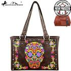 2Clrs Montana West Concealed Carry Sugar Skull Wide Tote Bag MW326G