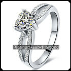 Woman 1.00CT Heart Diamond Solid Platinum PT950 Promisse Wedding Ring White Gold