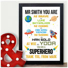 Personalised Thank You Superhero Gifts for Male Teacher School Leaving Gifts