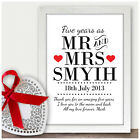 Personalised 5th Fifth Wedding Anniversary Gifts Five 5 Years As Mr & Mrs Print