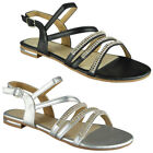Womens Ladies Strappy Comfy Flat Bling Summer Peeptoe Sandals Shoes Size
