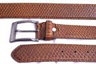 Belt ITALY STYLE Snakeskin Textured Leather Brown L38 L39 Men Women NEW 021