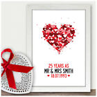 Personalised 25th Silver Wedding Anniversary Gifts for Mum & Dad Him Her Parents
