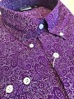 Purple Paisley Shirt Long Sleeve Relco Button Down Retro Pattern Mod 60s S - 3XL