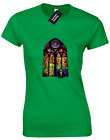 STAINED GLASS BANKSY LADIES T-SHIRT GRAFFITI ART URBAN JOKE HIPSTER (COLOUR)