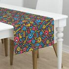 Table Runner Geometric Shapes Abstract Mod Retro Funky Cotton Sateen