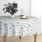 Round Tablecloth Neutral Bow Tie Hipster Fashion Illustration Cotton Sateen