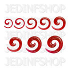 Ear Taper Stretcher Expander - Spiral Snail - 1.6mm To 10mm - Red Solid Acrylic