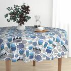 Round Tablecloth Mid Century Retro Floral Bold Floral Contemporary Cotton Sateen