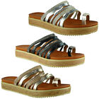 Womens Ladies Strappy Summer Studded Sliders Flats Shoes Slip Ons Slippers Size