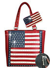 Red American Pride Montana West Concealed Carry Tote-Purse Bag & Wallet Set