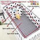 NEW 7Pcs Baby Bedding Set 100% Cotton Crib Cot Protector Safe Bumpers Bed Sheet