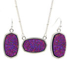 Silver Oval Iridescent Druzy Pendant Necklace With Drop Earrings Jewelry Sets