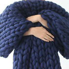 Home Soft Warm Handmade Chunky Knit Blanket Thick Yarn Wool Bulky Knitted Throw