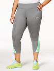 Nike Plus Size Power Compression Cropped Leggings Tumbled Grey/Electro Green 1X