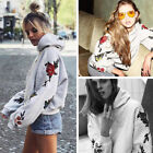 US STOCK Women Long Sleeve Printed Hoodie Sweatshirt Sweater Coat Pullover Tops