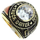 Mens Professional Truck Driver Clear Stone Gold Plated Ring