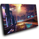 AB756 Brown Purple City Modern Abstract Canvas Wall Art Large Picture Prints
