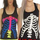 BLACK WITH UV REACTIVE RIB CAGE  VEST TOP  ALTERNATIVE GOTHIC HALLOWEEN PARTY