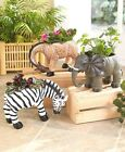 SAFARI ELEHANT GIRAFFE ZEBRA ANIMAL GARDEN FLOWER DECK PLANTER INDOOR OUTDOOR