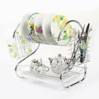 Cutlery Kitchen Organizer Holder Tray 2 Tiers Drainer Dish Cup Drying Rack Dryer