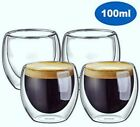 Double wall insulated glass cups, Set Of 2/4/6 Espresso size 100ml / 3.4oz each.