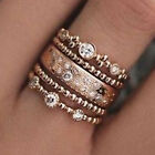 GENUINE CZ DESIGN ROSE GOLD 5 PIECE STACKING RING SET SIZE SALE LIMITED QTY!