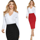 Womens Pleated Ruched Side Buttons High Waist Work Business Party Pencil Skirt