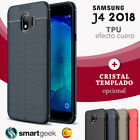 FUNDA TPU Gel para SAMSUNG J4 2018 efecto Cuero rugged carbon case color leather