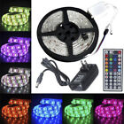 1-30M 5050 RGB LED Strip with 44keys IR Remote Controller +12V US Power Adapter