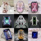 Fashion Women 925 Silver Morganite Gemstone Ring Engagement Wedding Jewelry 6-10