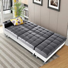 Corner Sofa Bed PU Leather Storage Ottoman Sofa Bed Cup Holder & Recliner Swivel