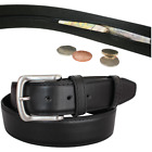 Mens Plain Leather Lined Jeans Belt With Money Hidden Zip Holiday Travelling