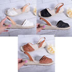 New Womens Ladies Low Wedge Heel Sandal Espadrille Cork Flatform Shoe Size