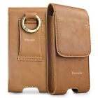CELLPHONES VERTICAL GENUINE LEATHER CARRYING POUCH CASE COVER BELT CLIP HOLSTER