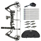 SAS Feud 70 Lbs Compound Bow Target Travel Package with Arrows Hard Case Loaded